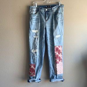 Tru Luxe Jeans Patches & Distressed Boyfriend Jean